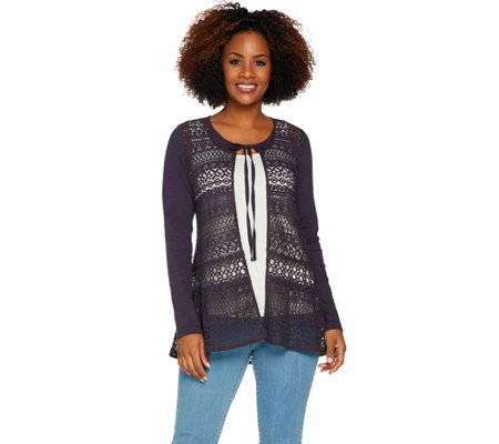 LOGO Lavish by Lori Goldstein Crochet Lace Cardigan with Knit Sleeves