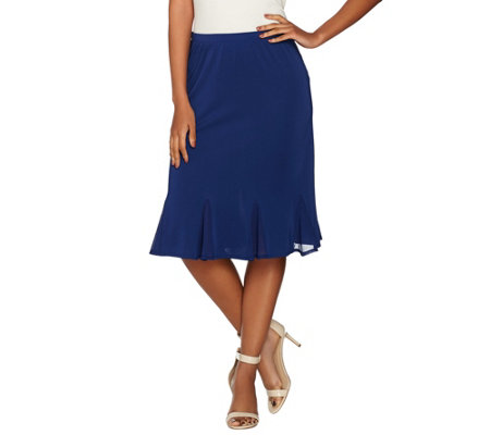 Susan Graver Premier Knit Skirt with Chiffon Godets