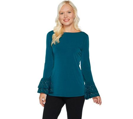 Every Day by Susan Graver Liquid Knit Top w/ Embellished Ruffled Cuffs