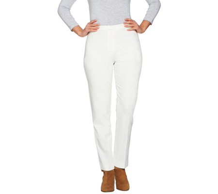 """As Is"" Susan Graver Ponte Knit Zip Front Straight Leg Pants"