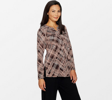 Susan Graver Printed Liquid Knit Shirt with Zipper Pockets