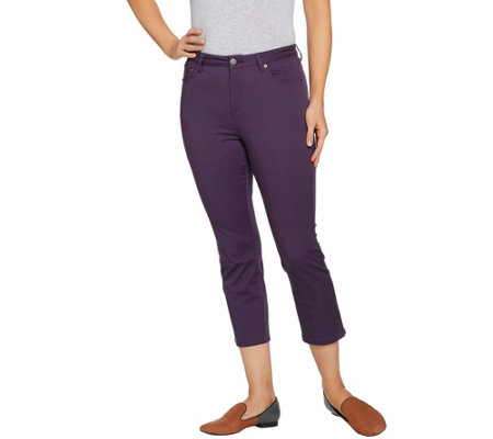 """As Is"" LOGO by Lori Goldstein Stretch Twill 5-Pocket Crop Pants"