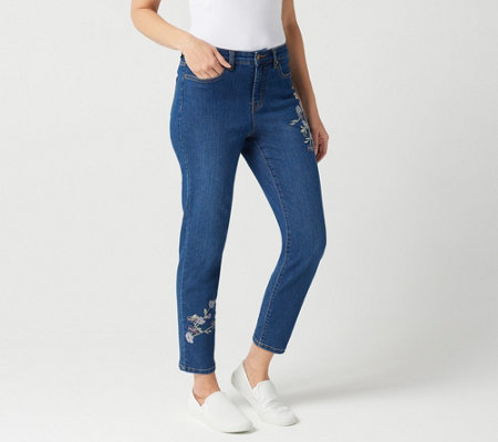 Studio by Denim & Co. Petite Slim Leg Ankle Jeans with Embroidery