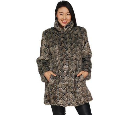 Dennis Basso Platinum Collection Basket Weave Faux Fur Coat