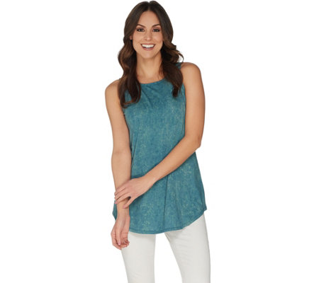 LOGO by Lori Goldstein Printed Tank with Shirttail Hem