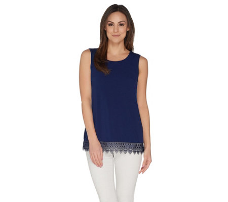 Joan Rivers Jersey Knit Tank with Lace Crochet Trim