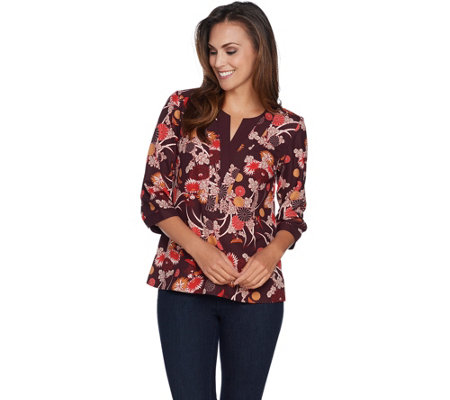 """As Is"" Studio by Denim & Co. Floral Print V-Neck Top"
