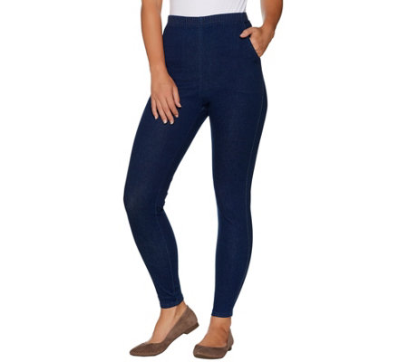 """As Is"" Denim & Co. Regular Pull-on Stretch Denim Legging"