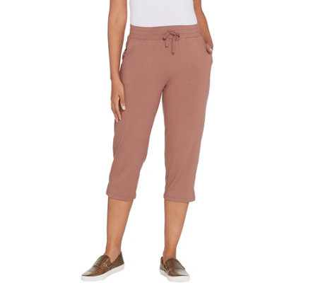 Logo By Lori Goldstein Knit Capri Pant With Side Notch Details
