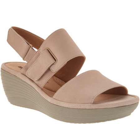 Clarks Nubuck Leather Adjustable Wedge Sandals - Reedly Breen