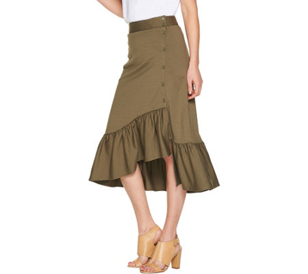Du Jour Button Front Knit Skirt with Flounce Detail