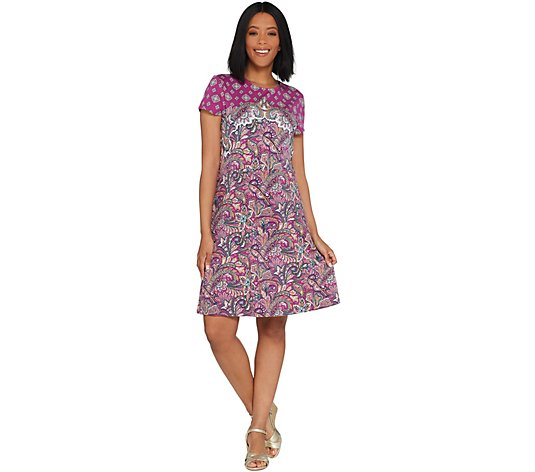 Isaac Mizrahi Live! Engineered Paisley Printed Knit Dress