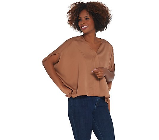 Laurie Felt V-Neck Blouse with High-Low Hem