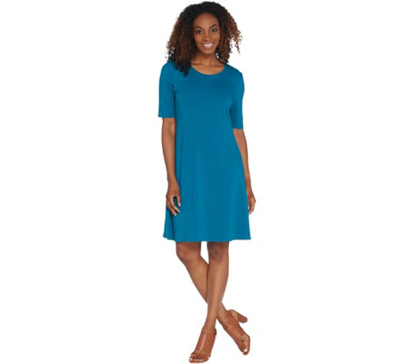 H by Halston Regular Knit Crepe Scoop Neck Elbow Sleeve Dress