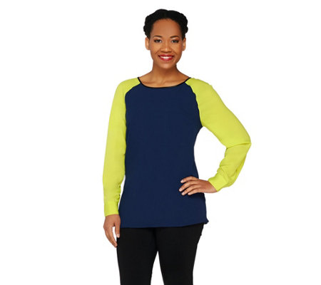 """As Is"" View by Walter Baker Color Block Long Sleeve Woven Top"