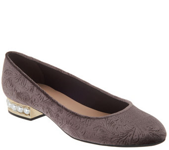 Embossed Velvet Ballet Flat with Faux Pearl Heel - A311141