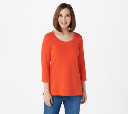 """As Is"" Isaac Mizrahi Live! Essentials Pima Cotton 3/4 Sleeve Top"