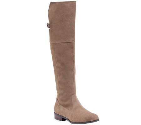 Sole Society Suede Over the Knee Suede LeatherBoots - Daegan