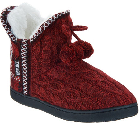 MUK LUKS Amira Slipper Boots with Faux Fur Lining - Page 1 — QVC.com 6366a06270ef