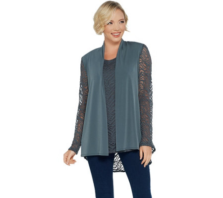 Susan Graver Liquid Knit And Lace Cardigan And Tank Set