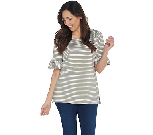 Belle by Kim Gravel TripleLuxe Knit Skinny Striped Top