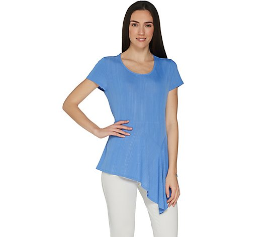 """As Is"" H by Halston Crew Neck Knit Plisse Peplum Top"