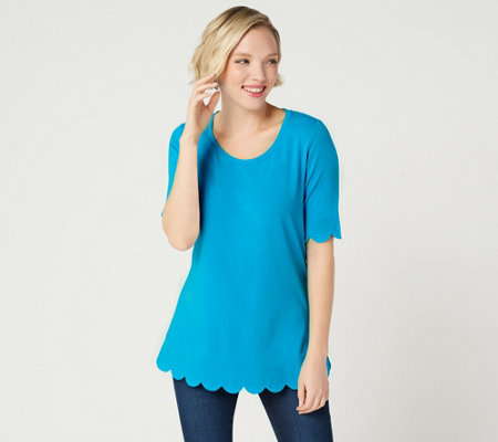 Isaac Mizrahi Live! Elbow Sleeve Scallop Hem Knit Top