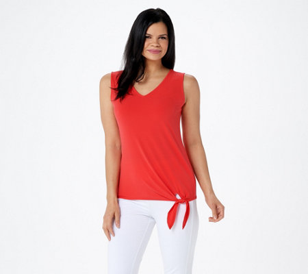 Susan Graver Liquid Knit Sleeveless Tie Front Top