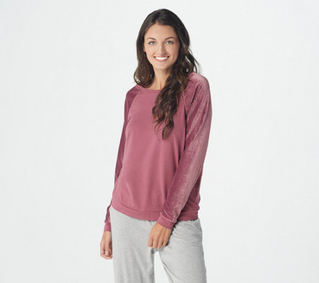AnyBody Ribbed Velour Cozy Knit Pullover