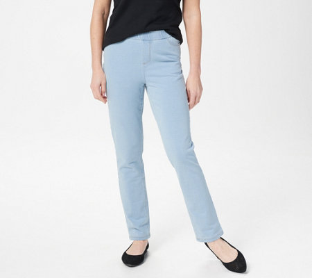 As Is Denim Co Comfy Knit Straight Leg Jeans With Pockets