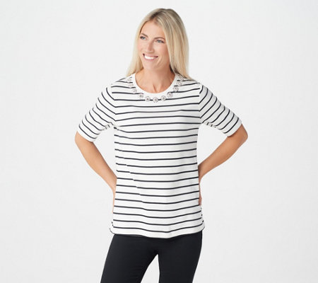Isaac Mizrahi Live! Striped Crew-Neck Knit Top with Crystal Collar