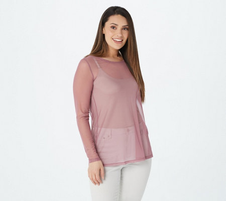 LOGO Layers by Lori Goldstein Long-Sleeve Sheer Mesh Top