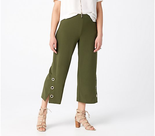 Dennis Basso Luxe Crepe Pull-On Crop Pants with Grommets