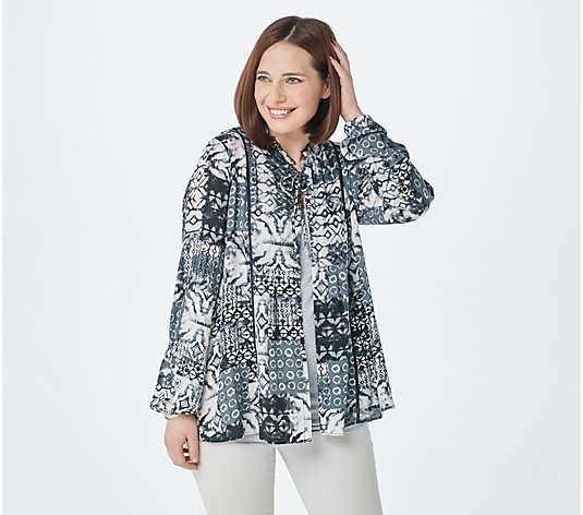 LOGO by Lori Goldstein Printed Stretch Woven Cardigan with Tie Front