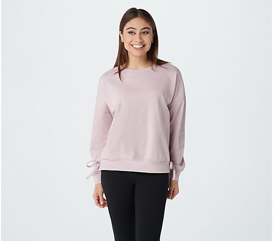 """As Is"" AnyBody Cozy Kind French Terry Side Tie Sweatshirt"
