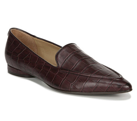 Naturalizer Leather Slip-On Croco-Embossed Loafers - Haines