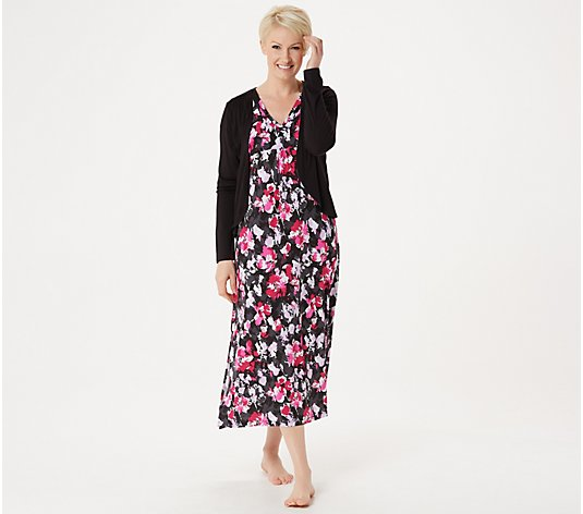 Carole Hochman Petite Brushed Floral Lounge Maxi Dress Set