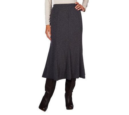 Susan Graver Ponte Knit Pull-on Godet Skirt
