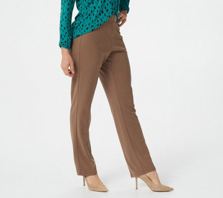 Susan Graver Milano Knit Petite Straight Leg Pull-on Pants