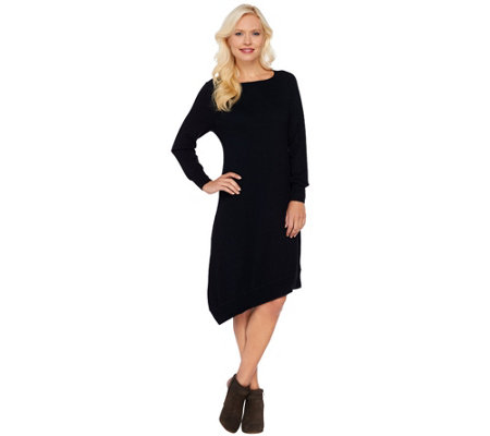 H by Halston Asymmetrical Hem Raglan Sleeve Sweater Dress
