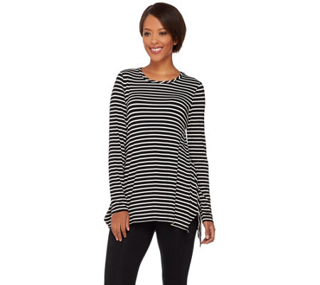 LOGO by Lori Goldstein Striped Knit Top with Side Slits