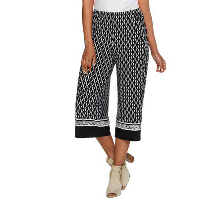 Susan Graver Printed Liquid Knit Wide Leg Capri Pants