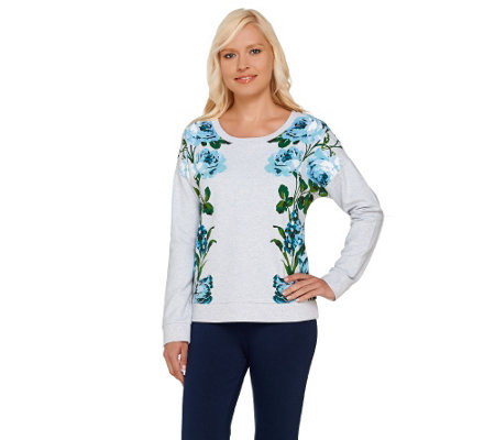 """As Is"" Isaac Mizrahi Live! Engineered Floral Printed Sweatshirt"