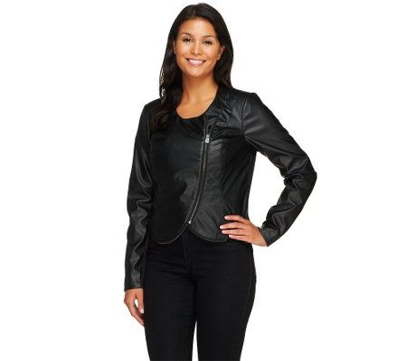 """As Is"" Lisa Rinna Collection Cropped Faux Leather Jacket"