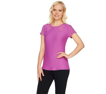 cee bee CHERYL BURKE Crew Neck Top with Mesh Inserts