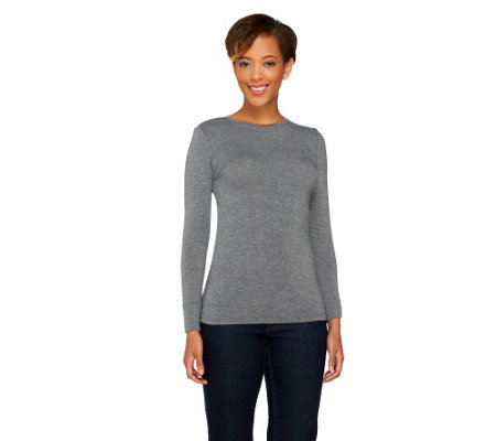 """As Is"" Cuddl Duds Softwear with Stretch Long Sleeve Crew Top"