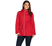 Susan Graver Water Resistant Packable Anorak Jacket with Hood - A287942