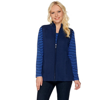 """As Is"" Denim & Co. Active Long Sleeeve Striped Top and Quilted Vest Set"