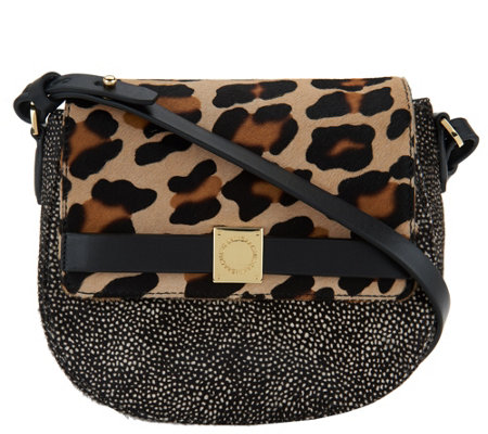 """As Is"" Isaac Mizrahi Live! Special Edition Hair Calf Saddle Bag"
