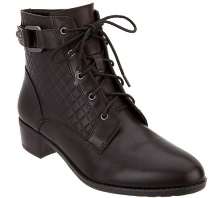 """As Is"" Isaac Mizrahi Live! Leather Lace Up Ankle Boots w/ Quilting Detail"